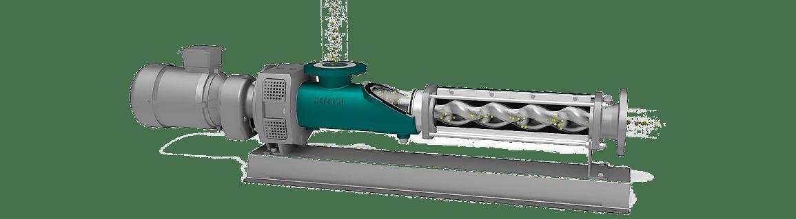 Процесс перекачки жидкости через винтовой насос