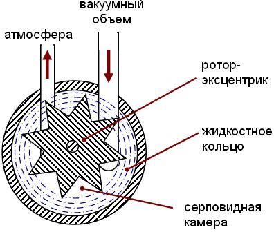 Принцип действия форвакуумного масляного роторного насоса