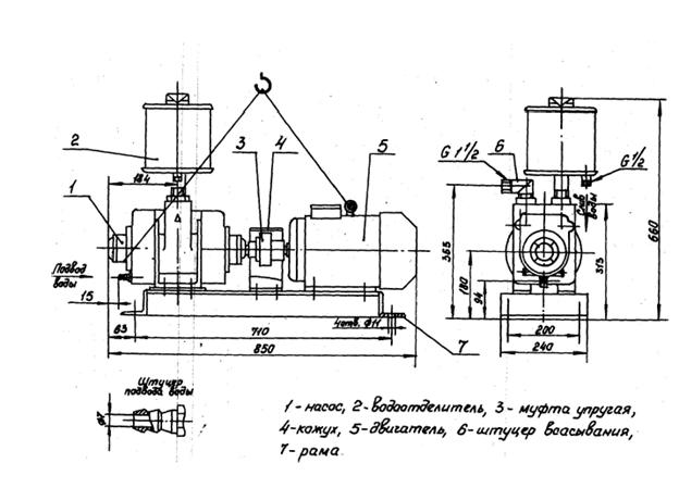Схема водокольцевого насоса BBH 1-12